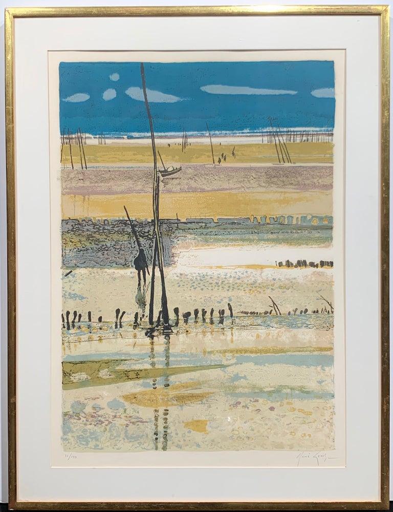La Plage, Arcachon, Marée basse. (French beach landscape)  - Print by René Genis