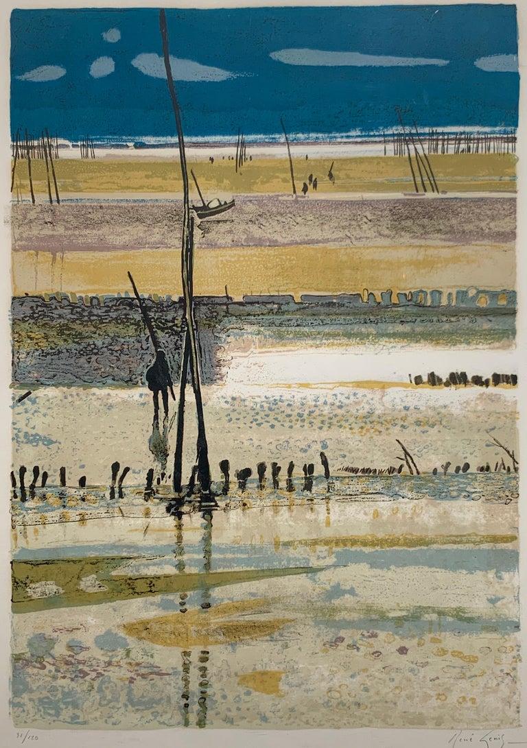 René Genis Landscape Print - La Plage, Arcachon, Marée basse. (French beach landscape)