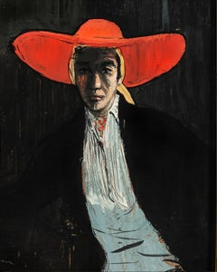 Figure in a Wide-brimmed Red Hat