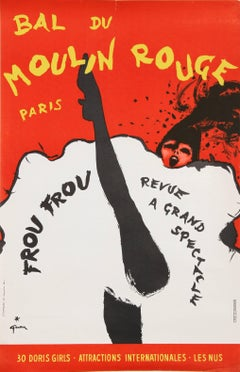 """Bal du Moulin Rouge, Paris (Frou Frou)"" Lithograph Poster by Rene Gruau"