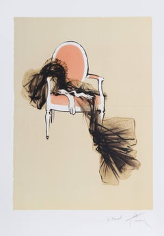 Dress on a Chair, Signed Lithograph by Rene Gruau