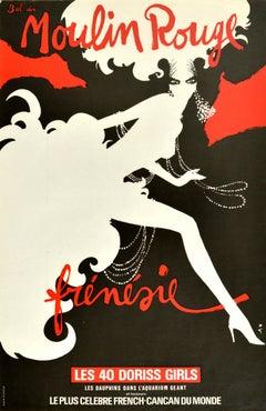 Original Vintage Poster Frenzy Moulin Rouge Frenesie Cancan Cabaret Doriss Girls
