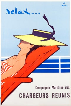 """Relax"" Original Vintage French Travel Poster"