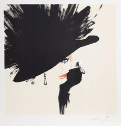 Woman in a Black Hat, Signed Lithograph by Rene Gruau