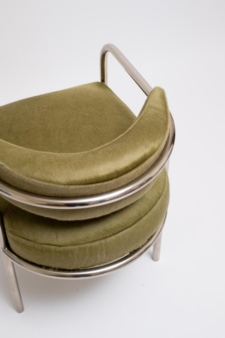Plated René Herbst Armchair No. 14, circa 1928 For Sale