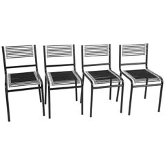 René Herbst Set of Four Black Steel and Rubber Sandow Chairs for Pallucco, 1980s