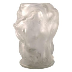René Lalique, France, Art Glass Vase with Femele Figures in Relief