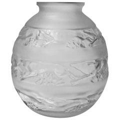 René Lalique 1930s René Lalique Signed Vase, Soudan Pattern