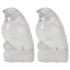 Rene Lalique, a Pair of Decoration Birds 'Bellecour'