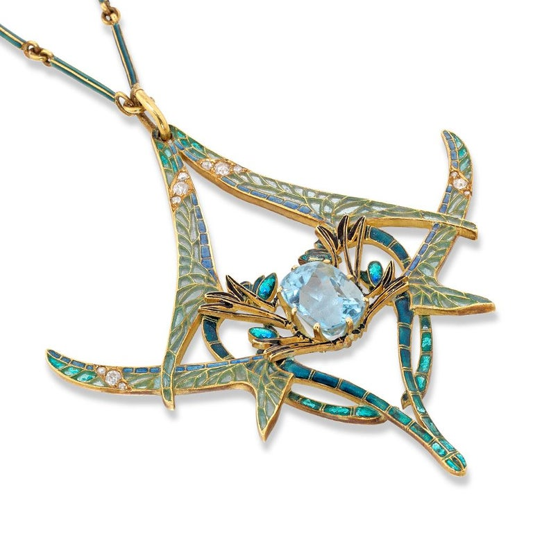 Women's Rene Lalique Aquamarine Dragonfly Pendant For Sale