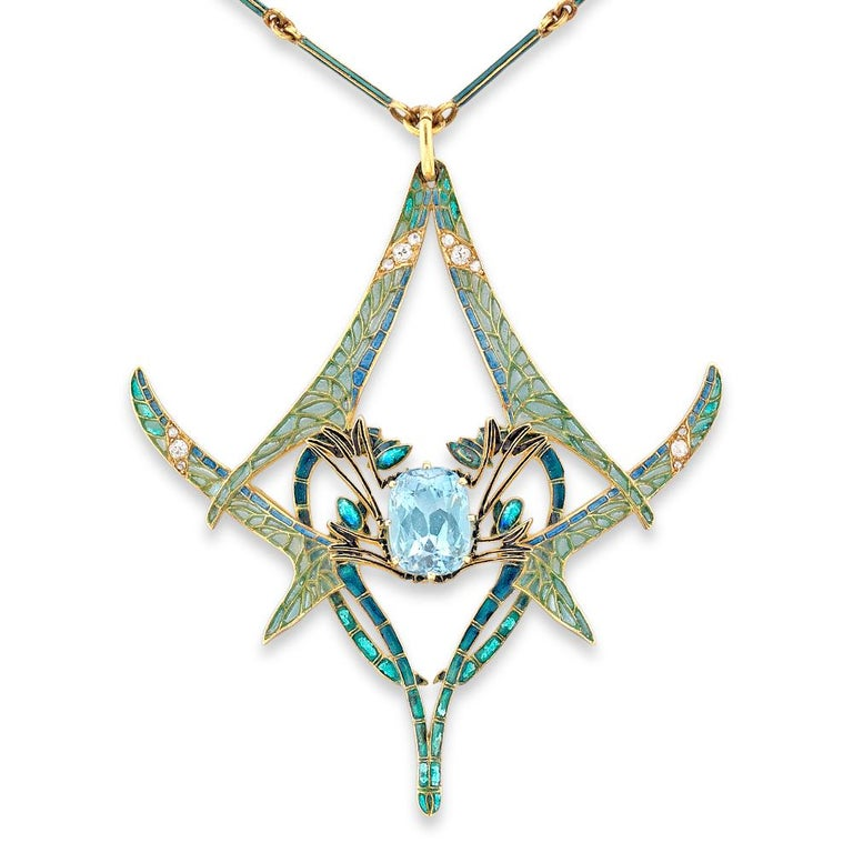 Rene Lalique Aquamarine Dragonfly Pendant For Sale 1