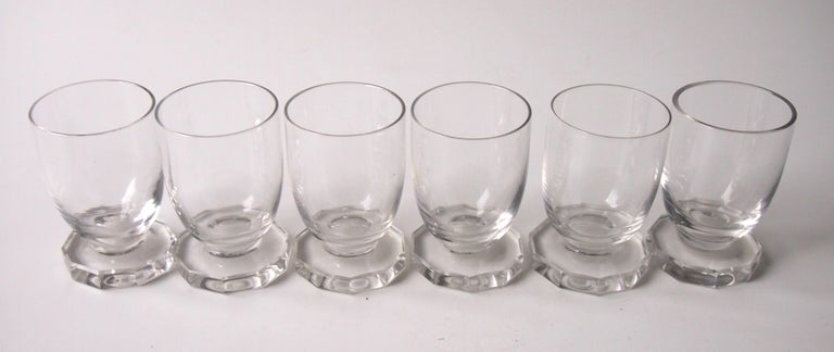 A set of six tiny René Lalique highly Art Deco Lille pattern liqueur glasses. All signed 'R Lalique France' (see last Picture) c 1938. Ref: Marcilhac p856 n:5406  The Lille pattern was made briefly after the war, but these are rare pre-war