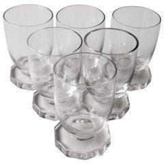René Lalique Art Deco Set of Six Lille Liqueur Glasses