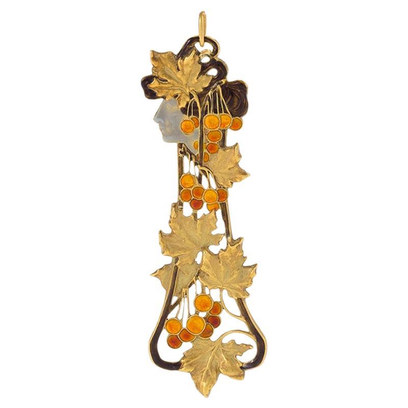 """René Lalique """"Automne"""" Gold and Basse-Taille Enamel Pendant"""