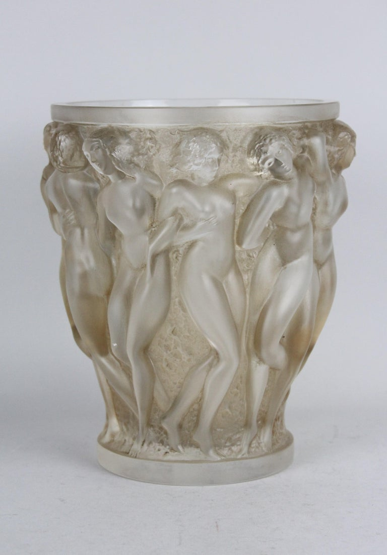 French René Lalique Bacchantes Vase, Sepia Stained For Sale