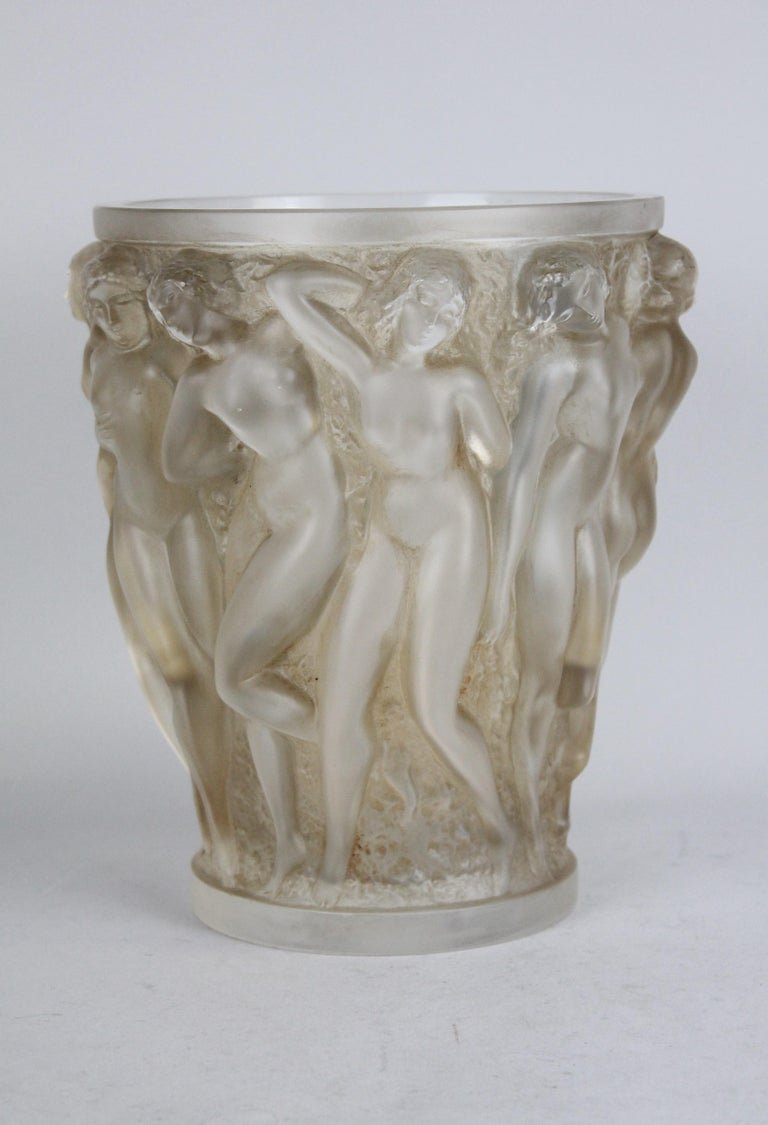 Frosted René Lalique Bacchantes Vase, Sepia Stained For Sale