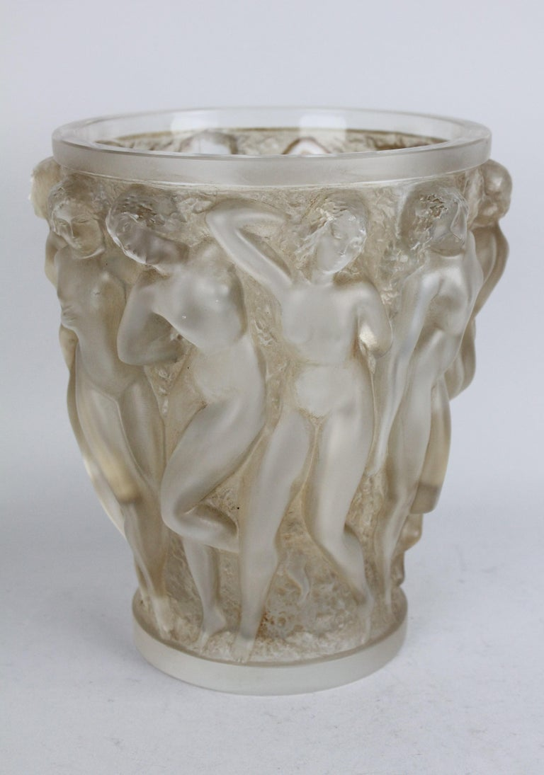 Crystal René Lalique Bacchantes Vase, Sepia Stained For Sale