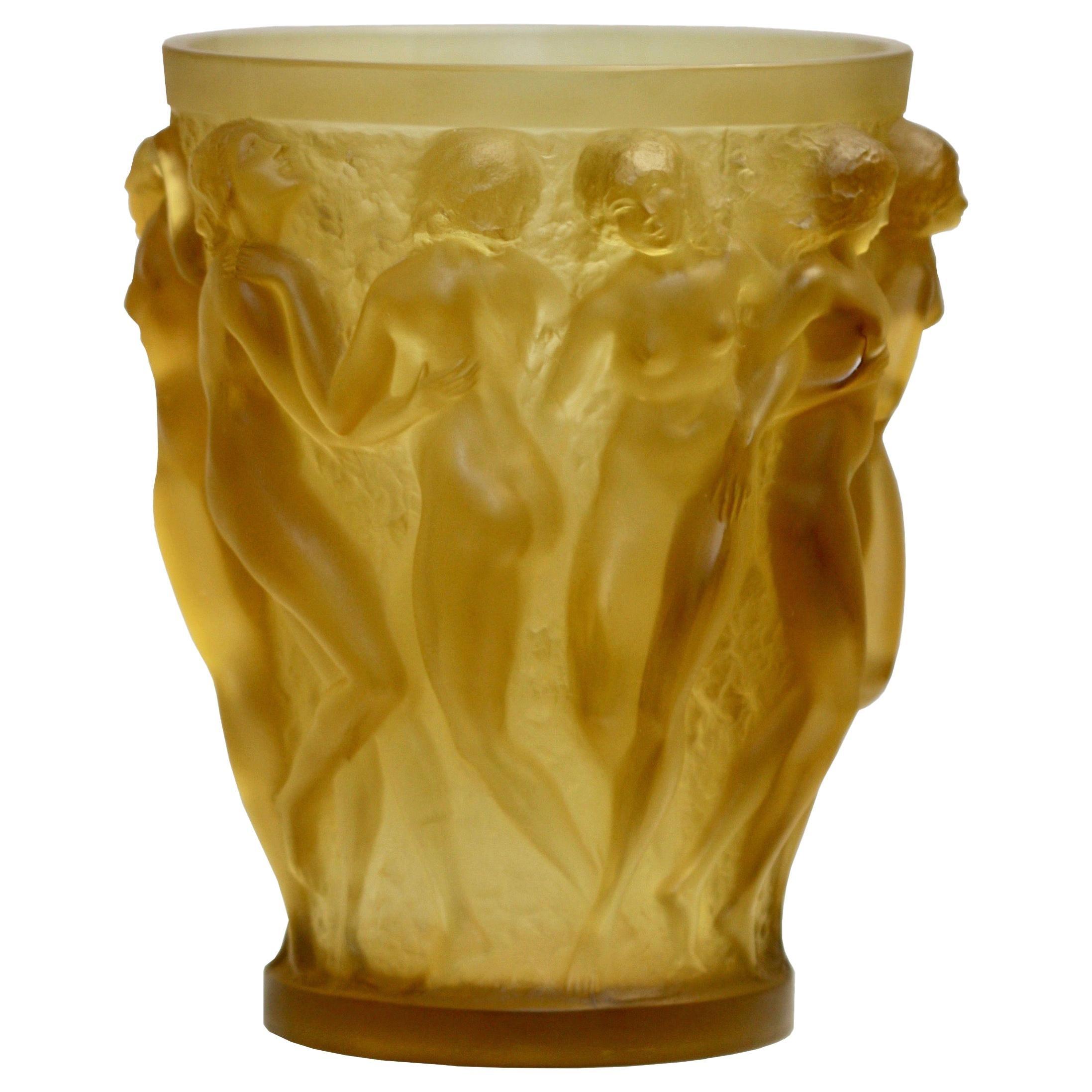 René Lalique Bacchantes Yellow Rene Lalique Glass Vase