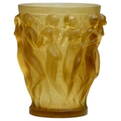 René Lalique Bacchantes Yellow Rene Lalique Glass Vase