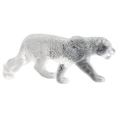 Rene Lalique Boxed Large Frosted Art Glass Jaguar Cat