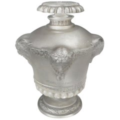 Rene Lalique Clear & Frost with Grey Staining Glass 'Guerlain Bouquet de faunes'
