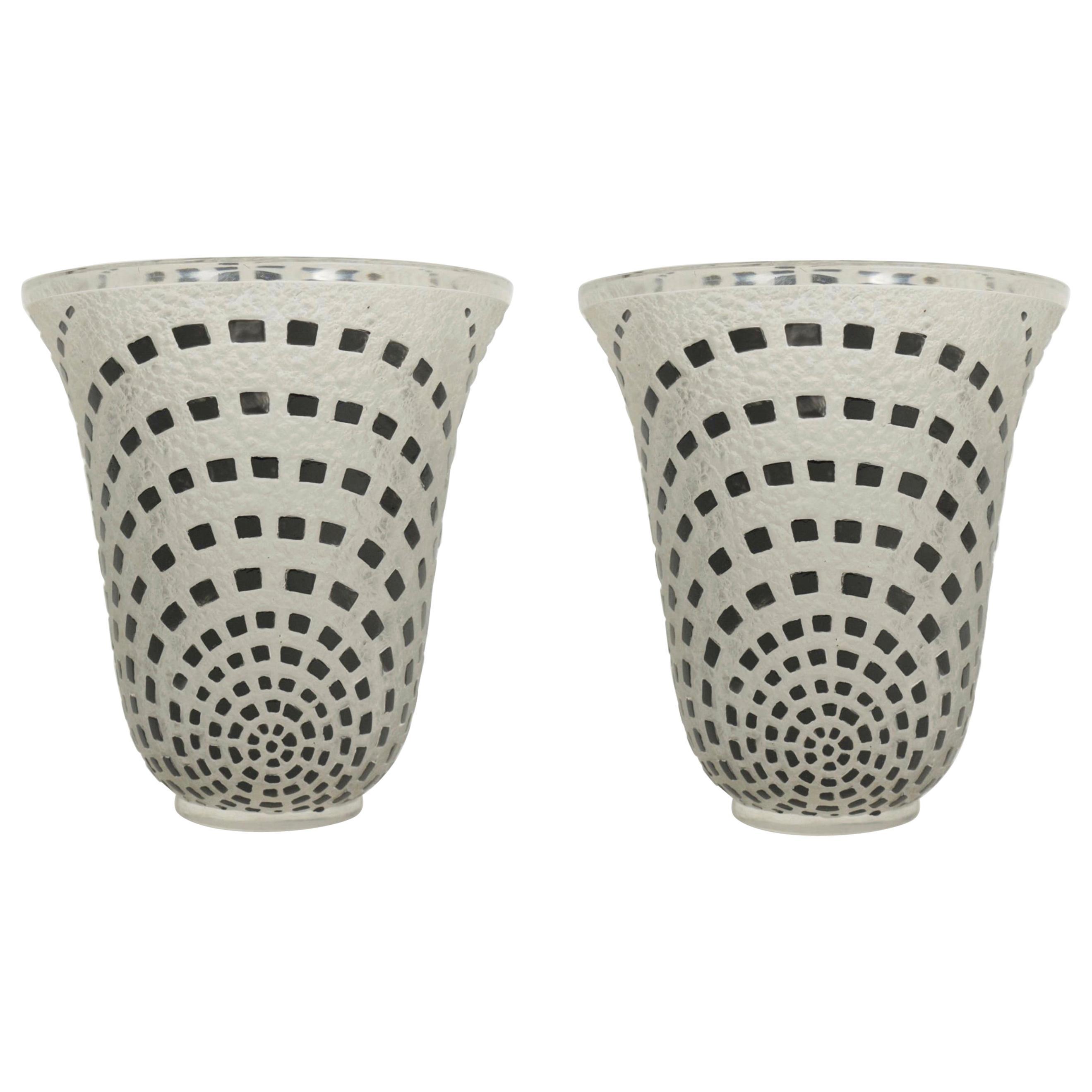 "René Lalique ""Damiers"" Pair of Vases Black Enameled"