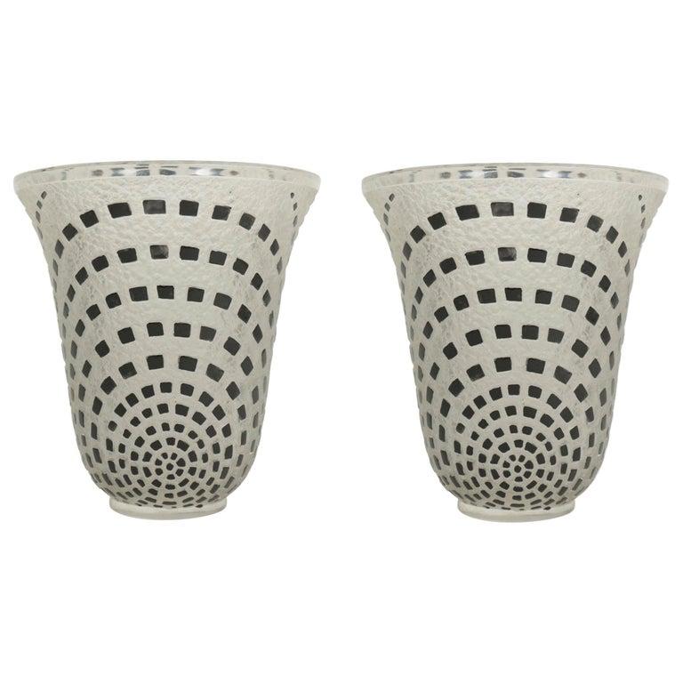 """René Lalique """"Damiers"""" Pair of Vases Black Enameled For Sale"""