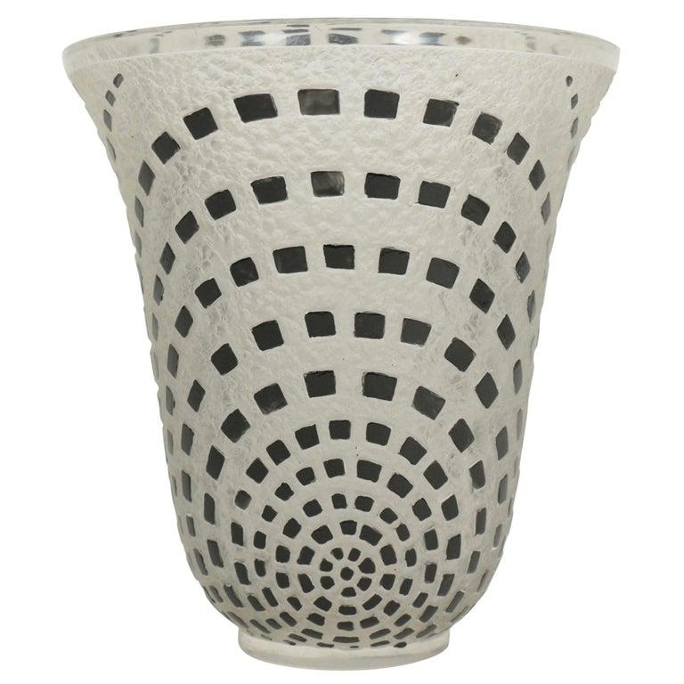 """René Lalique """"Damiers"""" Vase Black Enameled For Sale"""