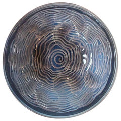 René Lalique Dauphins Bowl Blue Opalescent Glass with Swirling Dolphins