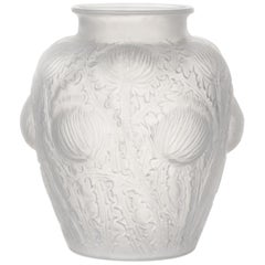 René Lalique Domremy Glass Vase, Marcilhac No. 979, Signed R. Lalique