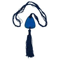 Rene Lalique Electric Blue Coloured Glass 'Graines' Pendant