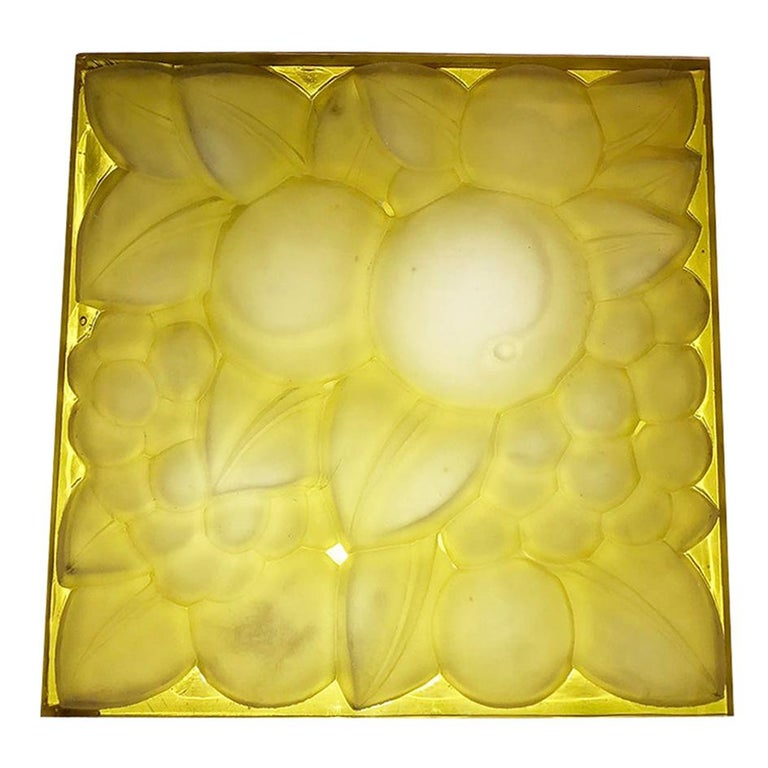 "Rene Lalique Glass Panel ""Fruits"" For Sale"