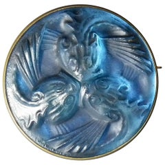 Rene Lalique Glass 'Poissons' Brooch