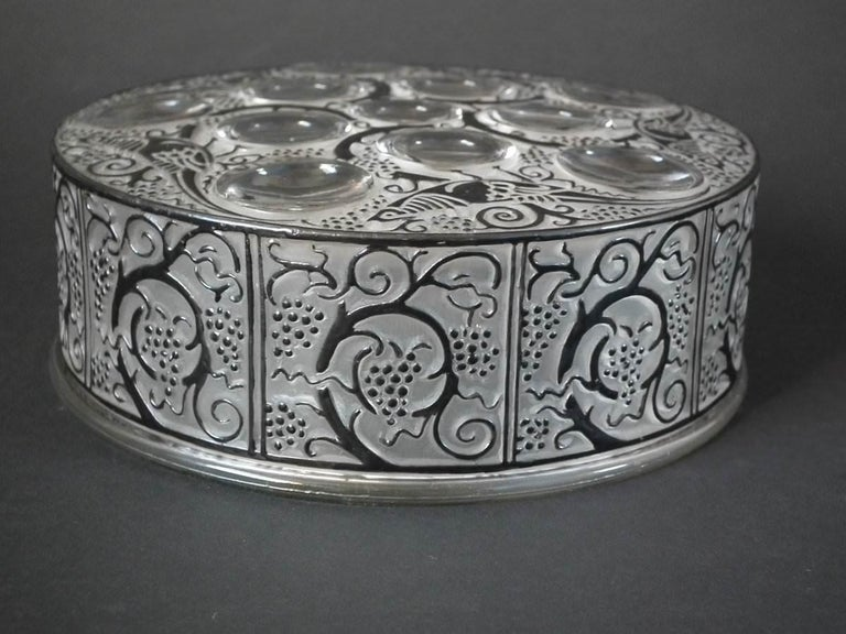 Art Deco Rene Lalique Glass 'Roger' Box For Sale