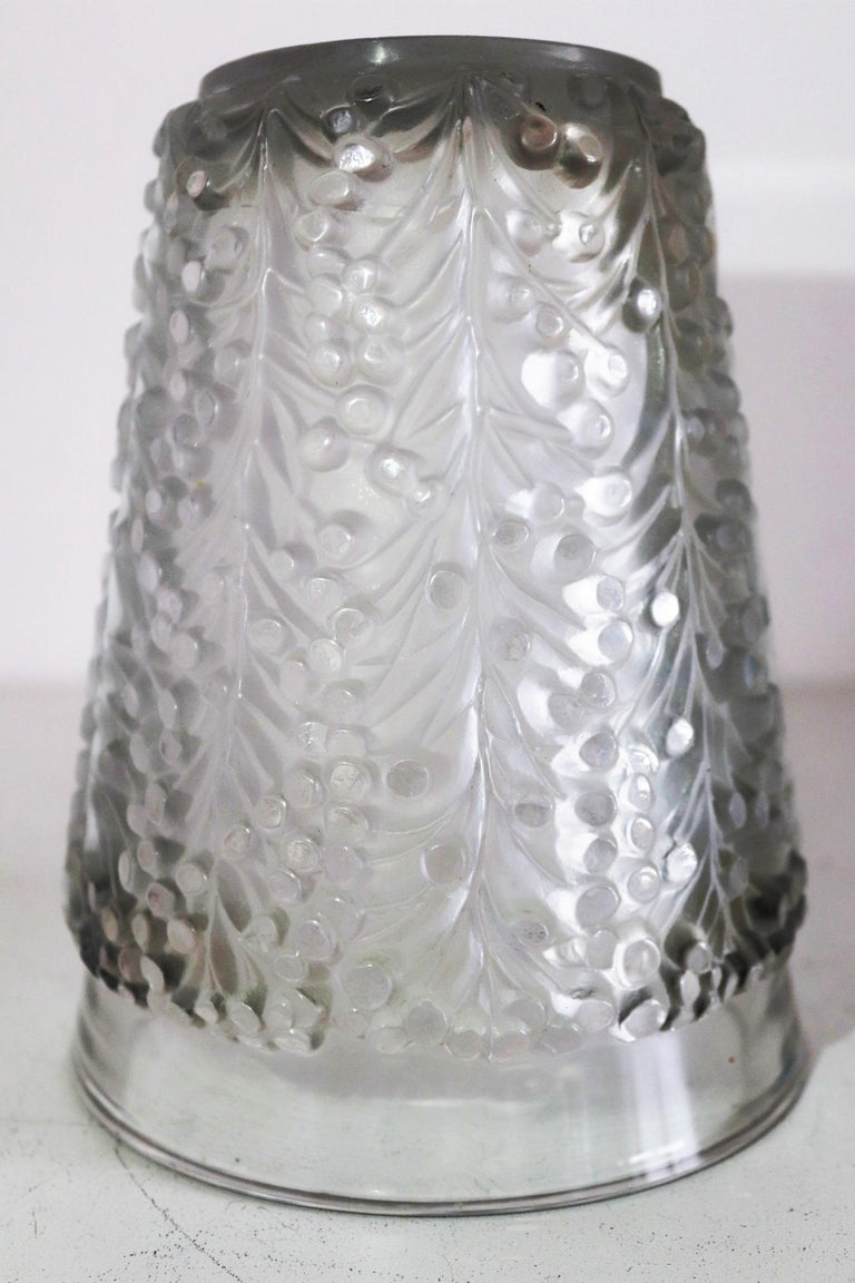 René Lalique Glass Vase with Frosted Leaves and Berries, France, circa 1937 For Sale 5