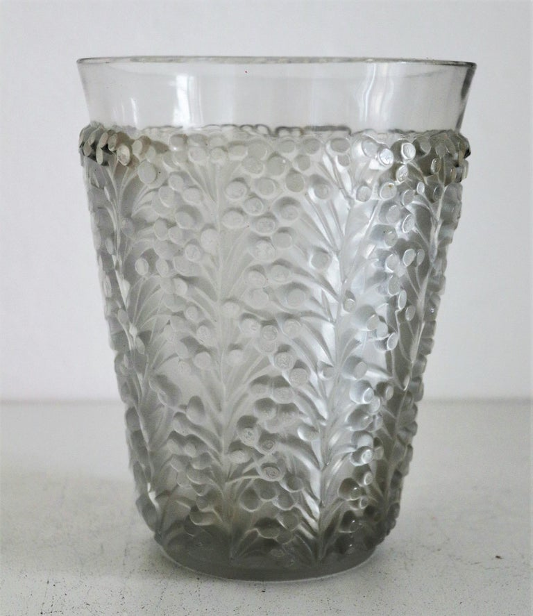 French René Lalique Glass Vase with Frosted Leaves and Berries, France, circa 1937 For Sale