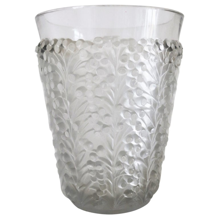 René Lalique Glass Vase with Frosted Leaves and Berries, France, circa 1937 For Sale