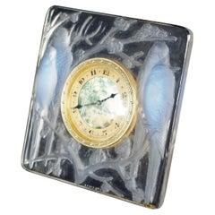 """René Lalique """"Inséperables"""" Art Deco Glass Clock French, Circa 1930"""