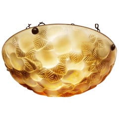 Rene Lalique Lausanne Plafonnier Chandelier No.2479, Amber Crystal, Signed, 1929