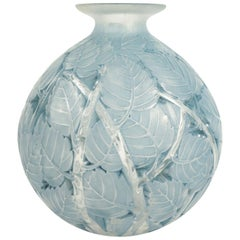 "René Lalique ""Milan"" Blue Grey Stained Glass Vase"