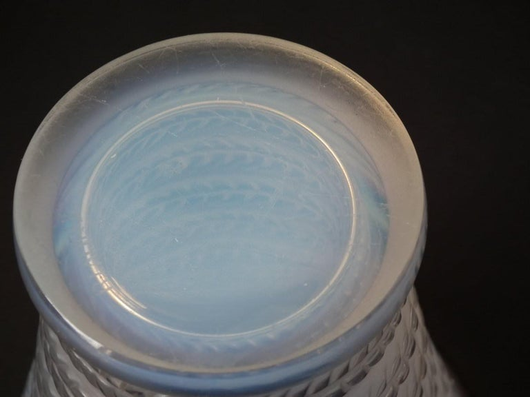 Rene Lalique Opalescent Glass 'Cytise' Vase In Good Condition For Sale In Battlesbridge, Essex