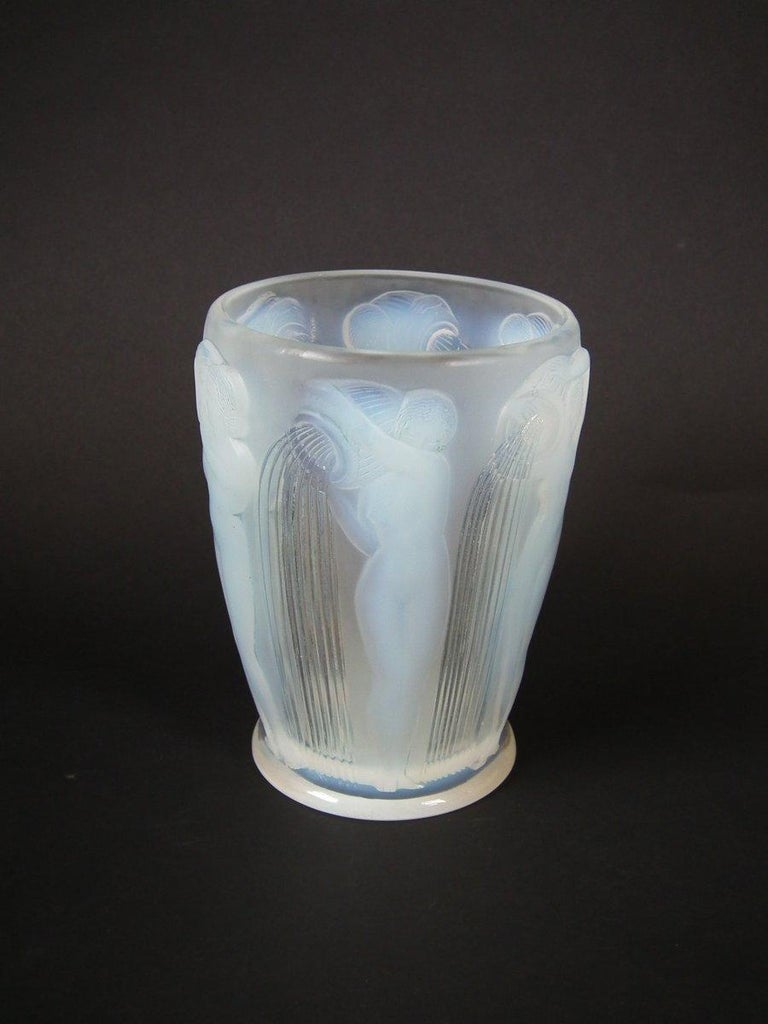Art Deco René Lalique Opalescent Glass 'Danaides' Vase For Sale