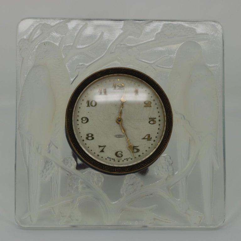 René Lalique Opalescent Glass Inseparables Clock For Sale 4