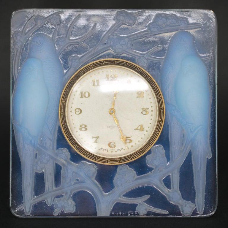 René Lalique Opalescent Glass Inseparables Clock For Sale 5