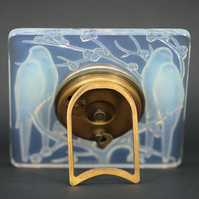Art Deco René Lalique Opalescent Glass Inseparables Clock For Sale