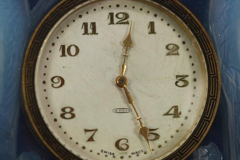 René Lalique Opalescent Glass Inseparables Clock For Sale 1