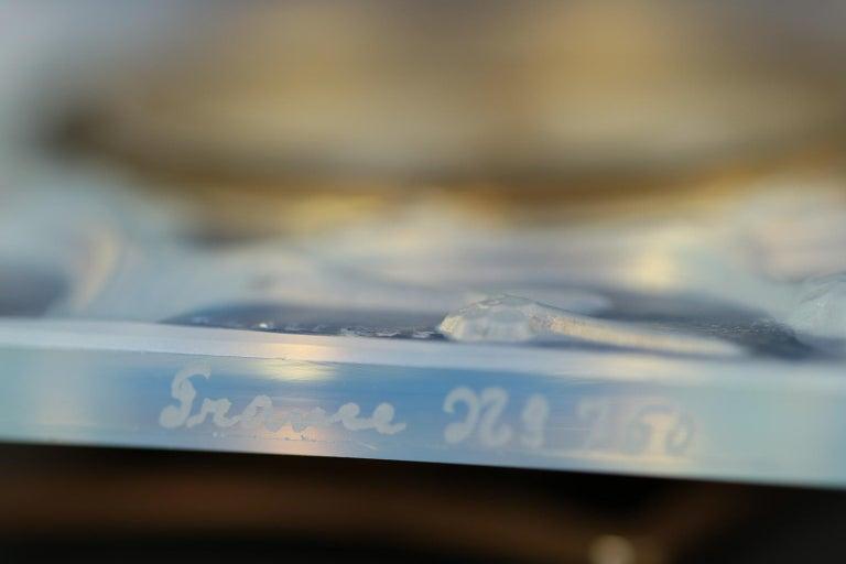 René Lalique Opalescent Glass Inseparables Clock For Sale 2