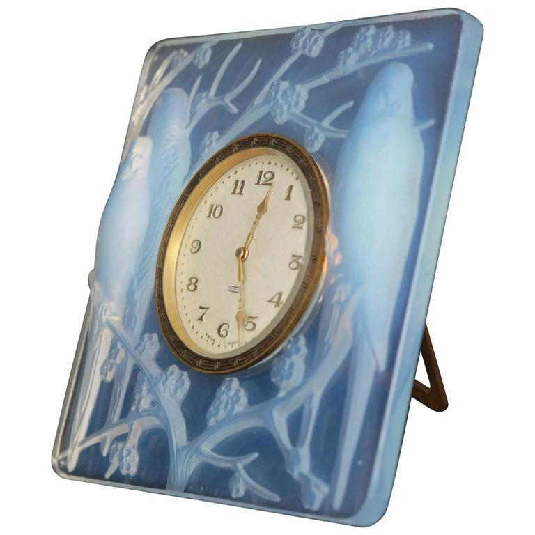 René Lalique Opalescent Glass Inseparables Clock For Sale