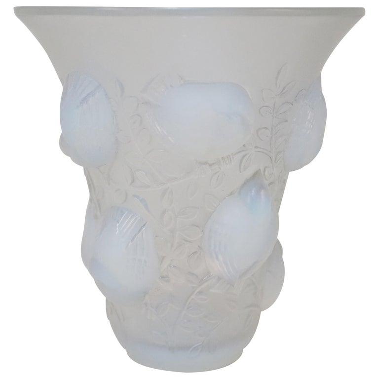 Rene Lalique Opalescent Glass Vase For Sale