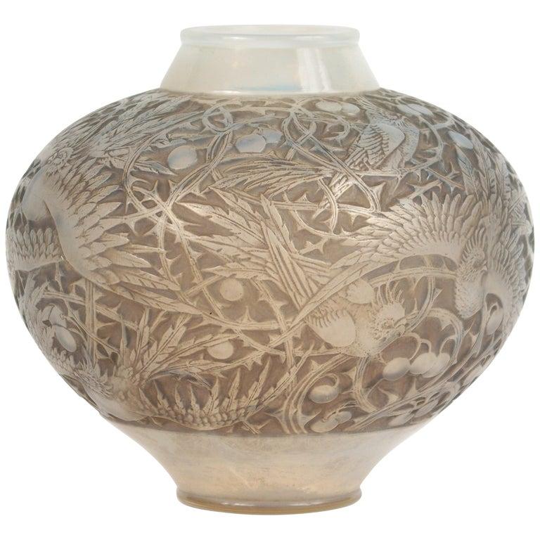 """René Lalique Opalescent Vase """"Aras"""""""